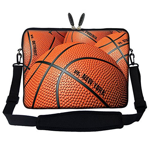 Meffort Inc 17 17.3 inch Neoprene Laptop Sleeve Bag Carrying Case with Hidden Handle and Adjustable Shoulder Strap (Basketball)