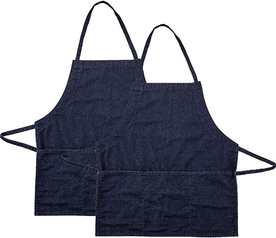 Kitchen Bid Apron Denim Jean Aprons With 3 Pockets Professional Grade Chef Cooking Apron For Women Men In Coffee Baking Bar Restaurant And Studio 2 Pack