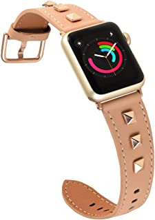 Ribivaul Hollow Rivet Leather Bands Compatible with Apple Watch Fashion Design Watchband for iwatch Series 4/3/2/1 Replacement Bands Strap Wristbands for Women (Black with Rose Gold Rivet,38mm 40mm) …