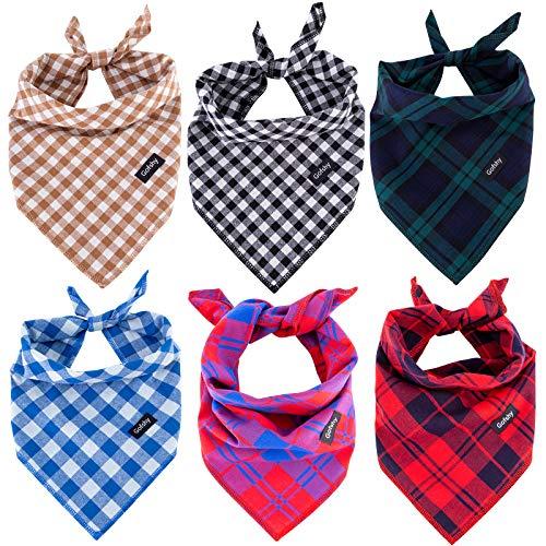 Gofshy Hundehalstuch, 6 Stück, Rot / Schwarz / Braun / Blau / Grün, quadratisches Karomuster, Hunde-Zubehör, Kopftuch für kleine, mittelgroße und große Hunde / Katzen, Welpen-Bandana, Größe M
