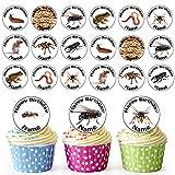 24 adornos comestibles personalizados para magdalenas, decoración para tartas de cumpleaños, fácil precortadas
