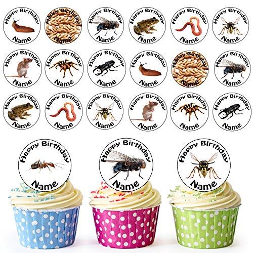 Vorgeschnittener Personalisierter Käfer Insekten Mix - Essbare Cupcake Topper / Kuchendekorationen (24 Stück)