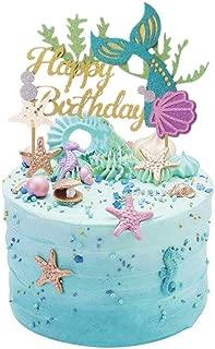 Glitter Mermaid Cake Topper Happy Birthday Cake Picks Mermaid Cake Decoration for Mermaid Baby Shower Birthday Party Supplies By ZiYan