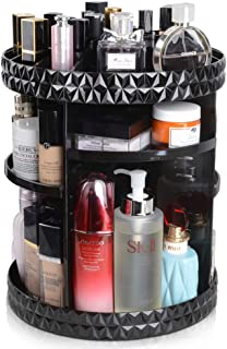 InnSweet 360 Rotating Makeup Organizer, Large Capacity Cosmetic Storage Shelf with 8 Layers, Adjustable Carousel Makeup Storage Rack, Acrylic Black