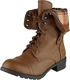 Women's Fold-Over Cuff Lace-Up Chunky Stacked Heel Combat Boot
