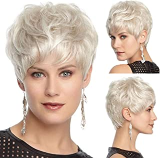 NEWNESS Short Blonde Wigs Natural Curly Pixie Cut Wig Light Blonde Hair Wigs Natural Heat Resistant Full Wig for Women