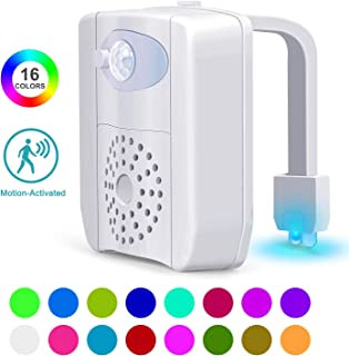 Toilet Night Light, 16-Color Motion Sensor Toilet Bowl Light with UV Disinfection and Aromatherapy Box, Great Gift Ideas for Men Women Mom Dad Boys Girls Kids