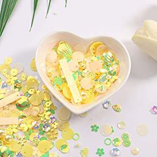 Mixed Sequins Spangles Beads Variety Pack for Crafts, Sewing, DIY Arts Crafts, Wedding Decoration - 10 Grams, Yellow