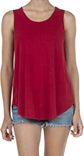 Women's Soft Jersey Knit Scoop Neck Sleeveless Loose Tank Top