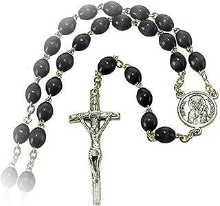 Pope John Paul II, Crucifix with Black Beads Metal 19.5-Inch Catholic Pendant Rosary