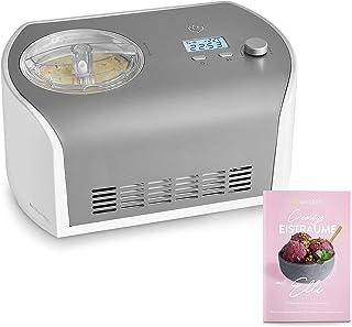 Sorbetière Turbine à Glace Elli avec compresseur de 1,2 litre, en acier inoxydable pour yaourt glacé, sorbet et crème glac...