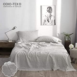 Simple&Opulence Linen Sheet Set Embroidery(King,Grey)