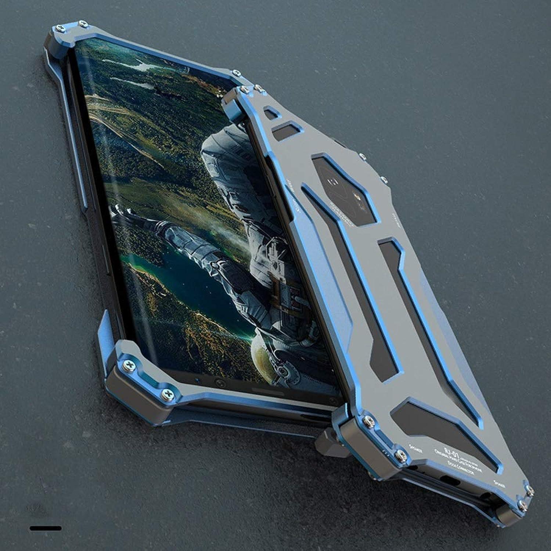 YIJUPIN メタルフレームパーソナルフリップケースアーマーアンチノックケース電話ディフェンダーシリコンカバー電話プロテクター電話ケース用サムスンS9、S9プラス (色 : 青, Edition : S9)