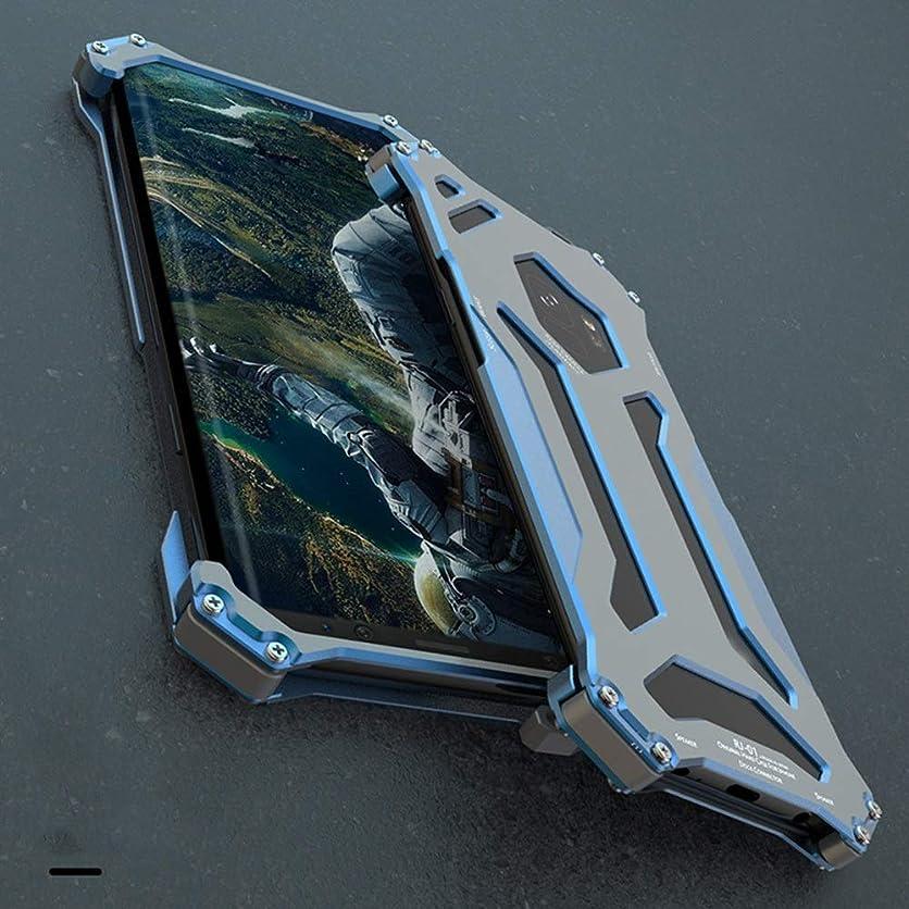 細胞手首フルーティーTonglilili メタルフレームパーソナルフリップケースアーマーアンチノックケース電話ディフェンダーシリコンカバー電話プロテクター電話ケース、サムスンS9、S9プラス (Color : 青, Edition : S9 Plus)