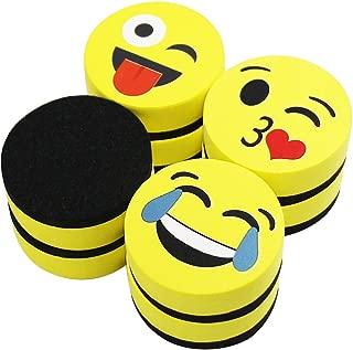 VIZ-PRO Magnetic Smiley Face Circular Whiteboard Eraser / 8 Pack of 2