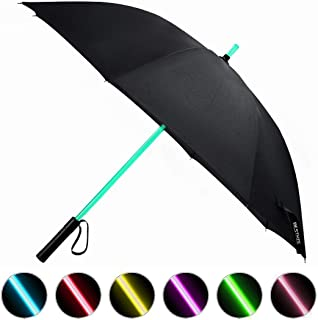 BESTKEE Lightsaber Umbrella LED Light up Golf Umbrellas with 7 Color Changing On The Shaft/Built in Torch at Bottom