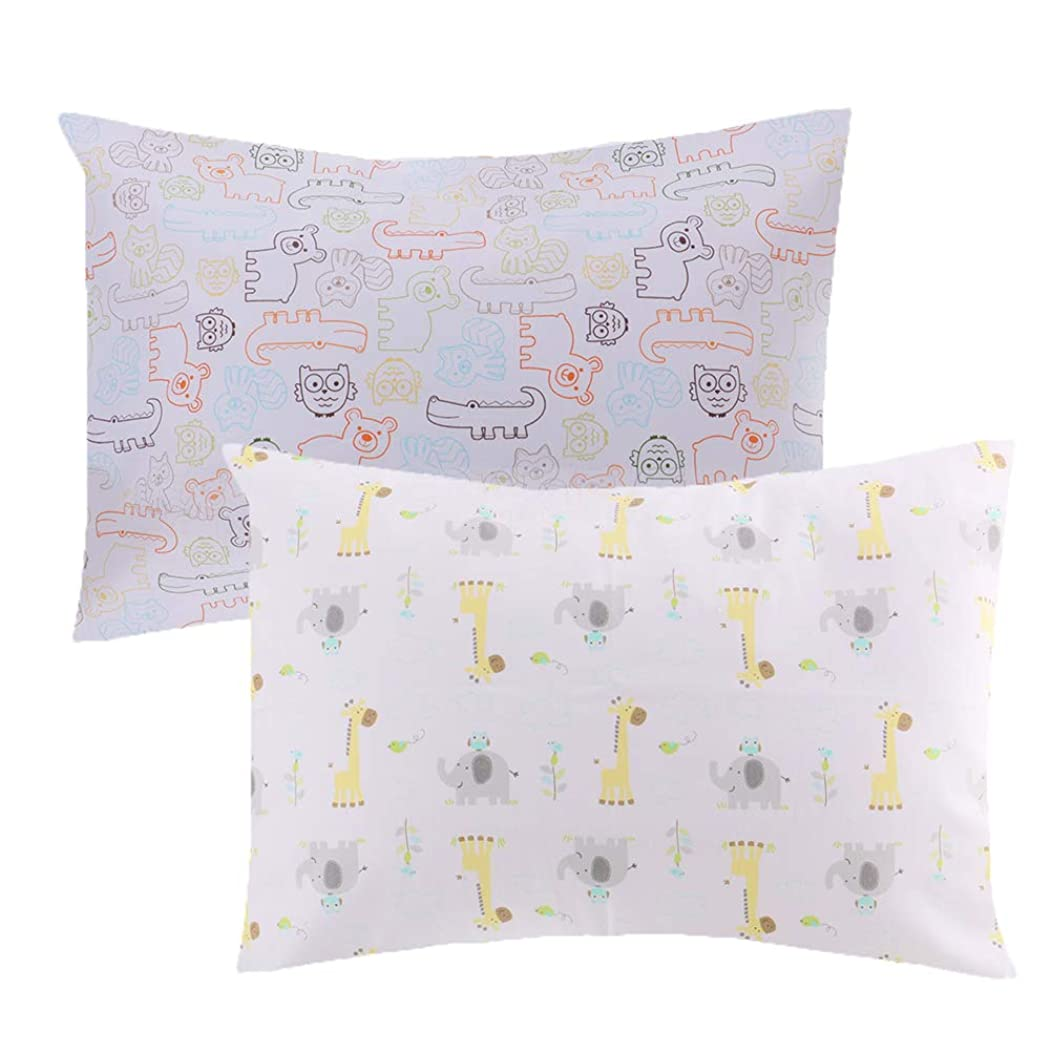 Tebery Toddler Pillow Set Baby Pillow with 2 Cute Animal Pillowcases - Envelope Style Closure - 13