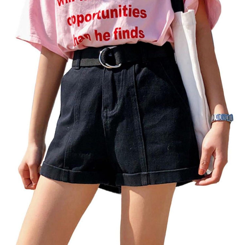PIITE デニム ショートパンツ レディース 夏 ショーパン ハイウエスト パンツ ゆったり ワイドパンツ おしゃれ ストレートパンツ シンプル 半ズボン カジュアル ズボン 通勤 通学 旅行