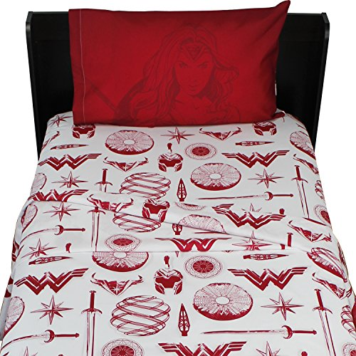 3pc DC Comics Wonder Woman Twin Bed Sheet Set Themyscira Bedding Accessories