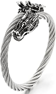 COOLSTEELANDBEYOND Elastic Adjustable Stainless Steel Mens Twisted Cable Cuff Bangle Bracelet with Dragons