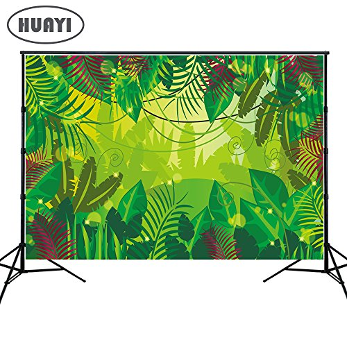 HUAYI 7x5ft Jungle Backdrops Photography Background Green Forest Wall Safari Themed backdrop Baby shower Dessert Table Background Banner Photo Booth Background Xt-6715