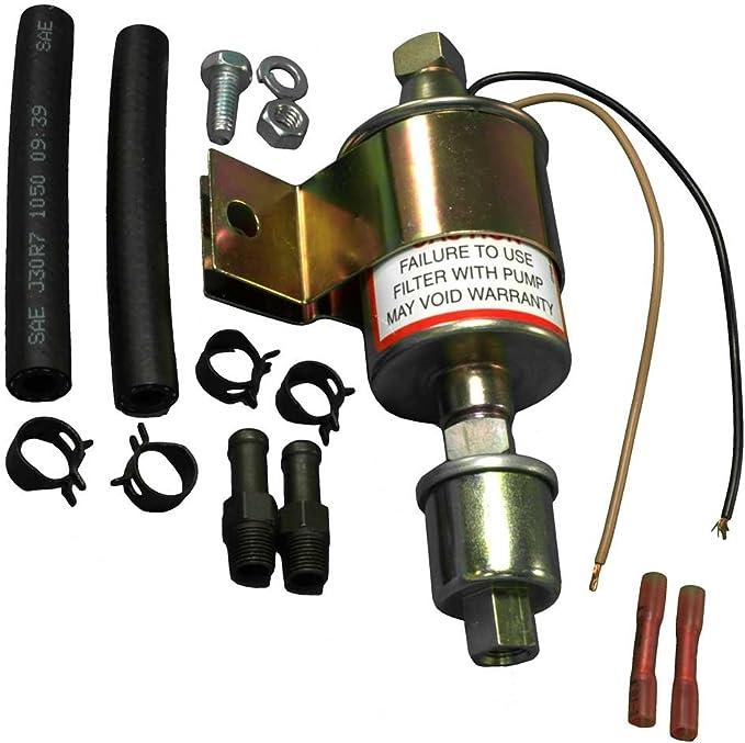 12 Volt Fuel Pump Electric Universal 2-4 PSI 20-30 GPH Fittings Rub Mnt Pad 7782