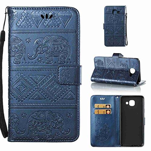 pinlu Schutzhülle Für Samsung Galaxy J7 Max Handyhülle Hohe Qualität PU Ledertasche Brieftasche Mit Stand Function Elefanten Muster Navy Dunkelblau