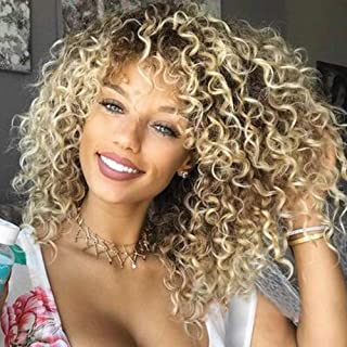 Lace Front Wigs Ombre Blonde 18'' Long Small Curly Wavy Synthetic Wigs for Black Women 130% Density Wigs(Ombre Gold Color)...