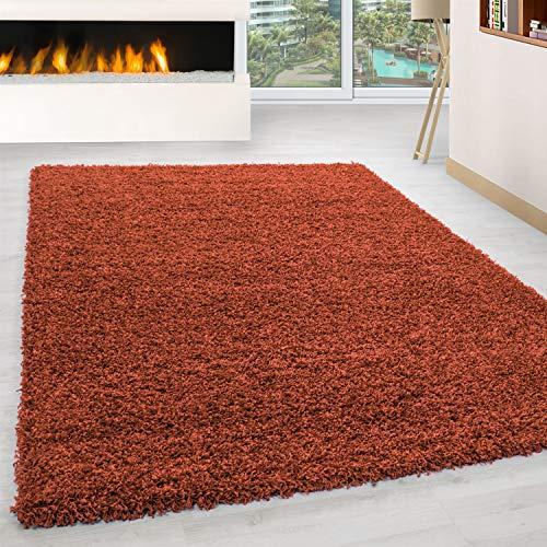 Ayyildiz Teppich-Hochflor Shaggy Teppich Unicolor einfarbig Wohnzimmer Flauschig, Polypropylen, Terracotta, 160 X 230