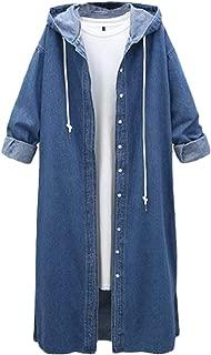 Women's Casual Long Sleeve Loose Hooded Denim Coat Outwear Long Windbreaker