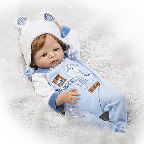 QXMEI Realistische Reborn Babypuppe Junge Silikon 55 cm