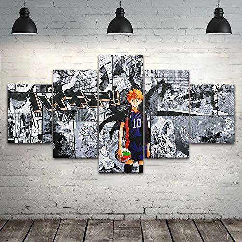 ELSFK Cuadro En Lienzo Chico de Baloncesto Impresión De 5 Piezas Material Tejido No Tejido Impresión Artística Imagen Gráfica Decor Pared 100x55cm