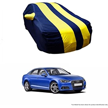MotRoX Dual Tone Stripe Car Body Cover for Audi A4 (Navy Blue with Yellow Stripe)