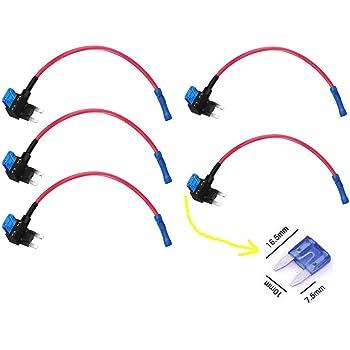 Qiorange 4tlg Autosicherungen Stromdieb Stromabgreifer Stecksicherung Steck Sicherung Verteiler Anschlußkabel 5a 10a 15a 20a Auto