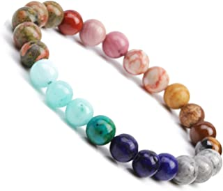 Chakra Bracelet, Solar System Galaxy Planet Anxiety Relief Gemstones Distance Friendship Handmade Bead Bracelets Gifts for Women Men Couples