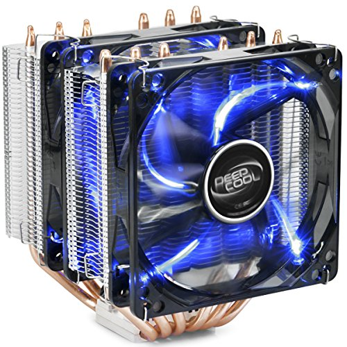 DEEP COOL NEPTWIN V2, CPU Kühler, Prozessorlüfter für Intel und AMD CPUs, 6 Heatpipes, Dual-Tower, 2 x 120mm Lüfters, Blau LED