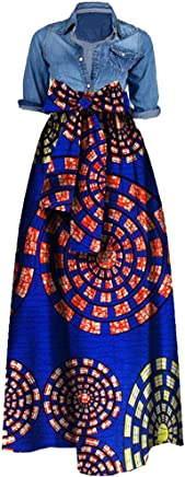 ddbfc9ed4f Pxmoda Women s Traditional African Dashiki Dress Long Maxi A Line Skirt  Ball Gown