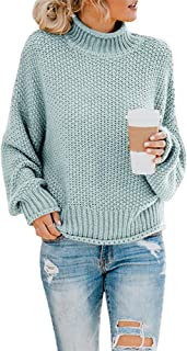 Womens Turtleneck Oversized Sweaters Batwing Long Sleeve...