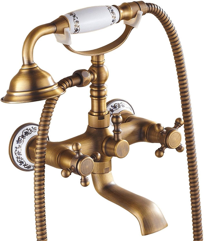 Bijjaladeva Antique Bathroom Sink Antique copper main body shower set bathtub head European style hot and cold shower, B