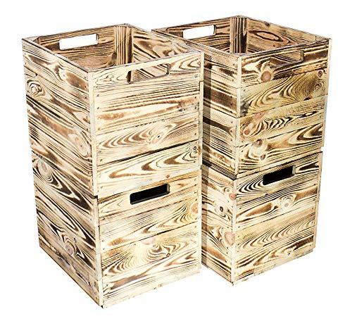4X Vintage-Möbel24 geflammte/gebrannte Holzkiste für Kallax Regal IKEA 33cm 37,5cm 32,5cm Obstkiste Kiste Box