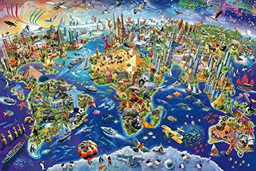WLH- Houten puzzel 300/500/1000 Stukken van de volwassen Decompression Children's puzzel leuke puzzel Toy Wereld Landmark (Size : 1000pc)