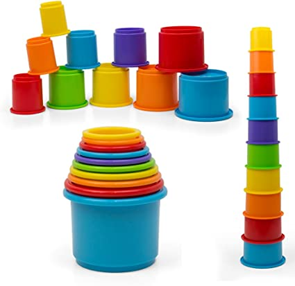 Amazon.com: Rainbow Nesting & Stacking Cups Baby Building Set. 10 Pieces.  With Embossed Animal Characters. For Indoor, Outdoor, Bathtub, And Beach  Fun Toy. Multi Colors : Toys & Games