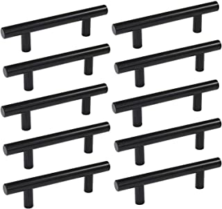Solid Black Pulls Cabinet Handle 10PCS Flat Pulls Dresser Knobs Stainless Steel Drawer Pulls for Kitchen/Cupboard/Bathroo...