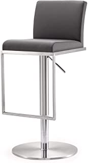 Wood & Style Furniture 16.5W x 17.7D x 31.5-41.15H inches- 33lbs Amalfi Stainless Steel Adjustable Barstool,Grey Home Bar Pub Café Office Commercial