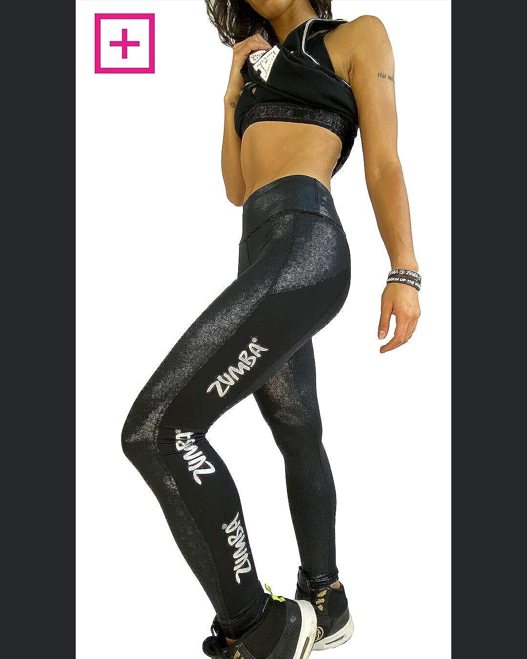 Zumba Fitness Print Legging de Sport Femme Workout Large Waistband Elastique Sport Pantalon Bold Black C