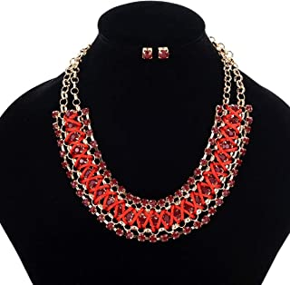 119069d9232 LVUNIQUE Fashion Metal Color Necklace Ladies Gemstone Necklace Multi-Row  Woven Chain Sweater Accessories