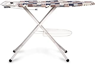 HOUZIE Premium Metal Ironing Board Foldable with Grilled Iron Holder, White Steel Folding Ironing Board with Tray/Wire Man...