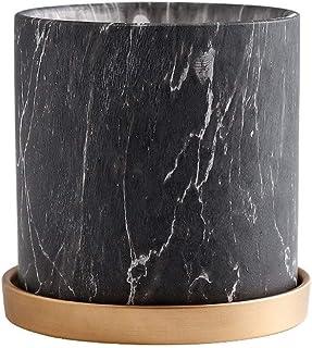 Ceramic Imitation Marble Texture Flowerpot Modern Minimalist Ceramic Plant Pot Nordic Style Straight Plate with Tray plant...