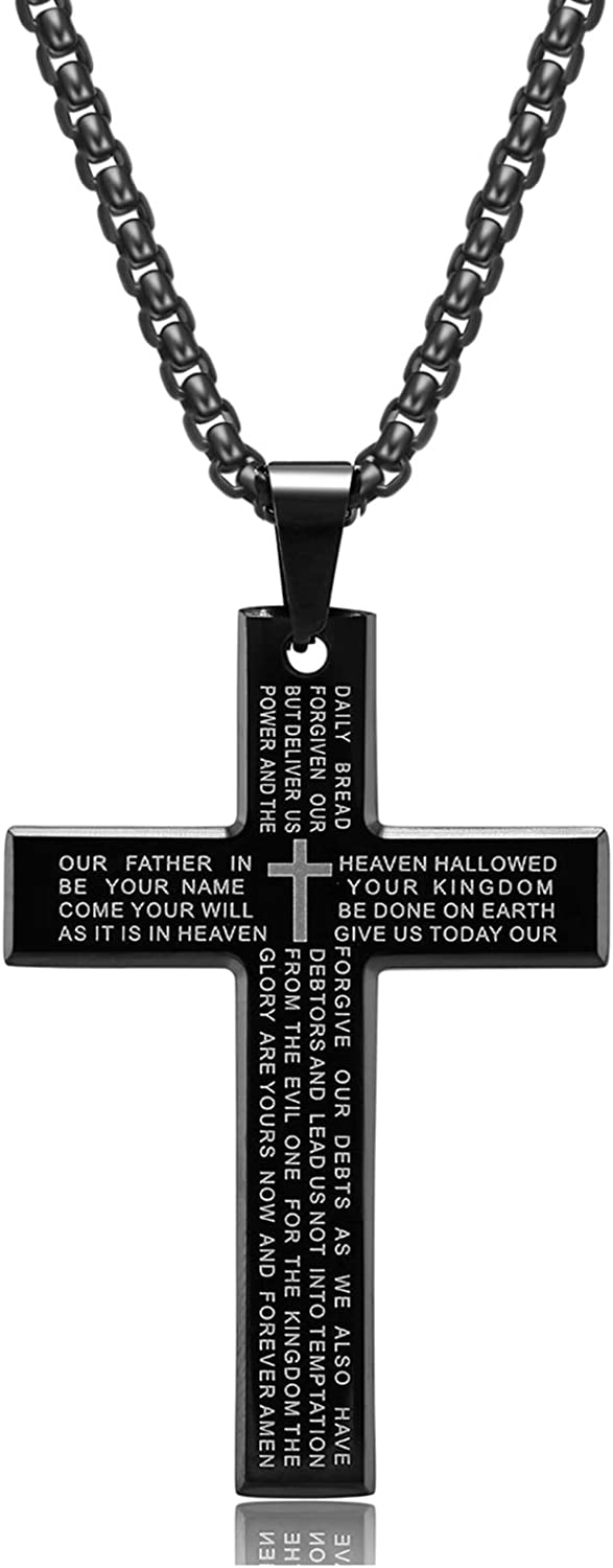 Men's Stainless Steel Cross Necklace with Lord's Prayer Inscription, Cross Pendant Necklace