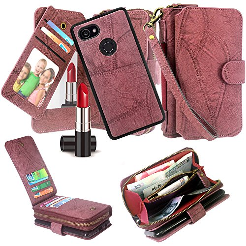 Google Pixel 2 XL Case, Harryshell Luxury Detachable Magnetic Zipper Wallet Case Clutch Purse 11 Card Slots Mirror Handstrap for Google Pixel 2 XL (2017) (Wine)